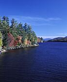 Scenic fall foliage, Long Lake, Adirondack Park, New York, USA