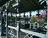 Spring, Cast iron gazebo, Central Park west, Manhattan, New York, USA