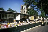 Street scene, Book stalls, Notre dame cathedral, Paris, France.