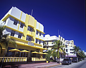 Street scene, Hotels, Ocean drive, Miami beach, Florida, USA.