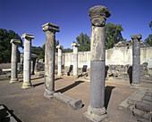 Old synagogue ruins, Qasrin, Golan archaeological museum, Israel.