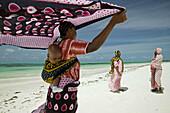 Jambiani beach, women. Zanzibar Island. Tanzania