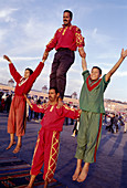 Acrobats at Jemaa el Fna square, Marrakech. Morocco