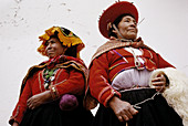 Women dressed on traditional dress. Cuzco. Peru