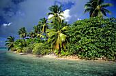 Uninhabited Pulu Klapa Satu island, a tiny island in the south of the Cocos islands, Australia