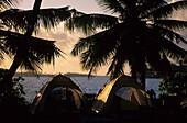 People camping on uninhabited Pulu Klapa Satu island, Cocos Islands, Australia