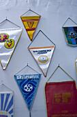 Pendants hanging on the wall, winners, GDR, Sport, Leipzig, Saxony, Germany