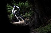 Junger Mann fährt Mountainbike im Wald, Oberammergau, Bayern, Deutschland