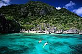 Snorkeling in Blue Lagoon, Sawa-i-Lau, Yasawa group, Fiji, South Sea