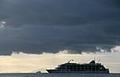 Cruis ship, MV Reef Escape off Tivola Island, Mamanuca group, Fiji, South Sea