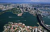 Aerial photo from North Sydney over Harbour to City, Sydney, New South Wales, Australia
