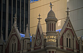 The historic beehive corner building marks the western entrance of the Rundle Mall, Adelaide, South Australia, Australia