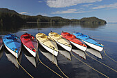 Kayaks at anchorage in Southeast Alaska. Property Released by owner Dan Blanchard, American Safari Cruises