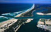 Aerial photo of Lakes Entrance and Ninety Mile Beach, Victoria, Australia