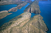 Aerial photo of the islands of the Buccaneer Archipelago at the Horizontal Waterfalls, Western Australia, Australia