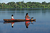 Canoe on the Amazon river. Amazonia. Peru