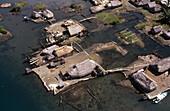 Isle and floating houses. Caribbean sea. Kuna Yala. Panama