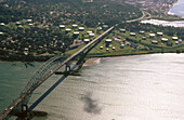 Las Americas bridge. Entry to the Panama canal, Panama city