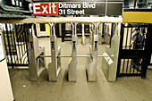 31st Street, America, Color, Colour, Ditmars Boulevard, Empty, Entrance, Exit, Exits, Guarded, Horizontal, Indoor, Indoors, Inside, Interior, Mid-Atlantic USA, New York, New York City, Nobody, North America, Northeast USA, NY, NYC, Off hours, Public tran