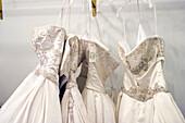 Bridal, Bridal gowns, Bridal store, Color, Colour, Detail, Details, Dress, Dressed up, Dresses, Dressmaking, Elegance, Elegant, Fashion, Feminine, Four, Gowns, Group, Hang, Hanging, Horizontal, Indoor, Indoors, Inside, Interior, Lace, Left, Marriage, Mat