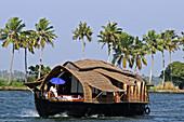 Kerala, Southern India, Houseboat (Kettuvallom) on Backwaters Popular Kerala tourist attraction