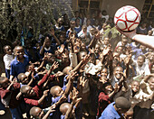 African children, happy with a ball. Tanzania