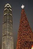 Big Christmas tree near Star Ferry Pier. Downtown. Hong Kong Island.