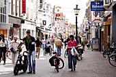 Shopping street in Alkmaar.Netherlands