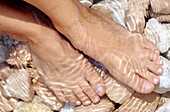 Adult, Adults, Barefeet, Barefoot, Bathe, Bathes, Bathing, Brook, Brooks, Close up, Close-up, Closeup, Color, Colour, Creek, Creeks, Daytime, Exterior, Feet, Female, Foot, Horizontal, Human, One, One person, Outdoor, Outdoors, Outside, People, Person, Per