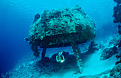 Scuba diver and Jacque Cousteaus Precontinent 2,  Sudan, Africa, Red Sea, Shaab Rhumi