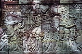 BAS relief, Bayon temple, Angkor, Siem Raep, Cambodia, Asia