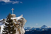 Summit cross, Brauneck, Upper Bavaria, Germany