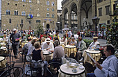 Outdoor cafe at Piazza dell Signoria, Florence. Tuscany, Italy