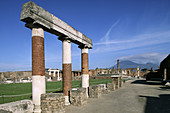 Temple of Jupiter, ruins of the old Roman city of Pompeii. Campania, Italy