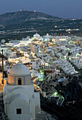 Architecture, Church, Churches, City planning, Cityscape, Cityscapes, Color, Colour, Cyclades, Dome, Domes, Europe, Exterior, Fira, Greece, House, Houses, Housing, Illuminated, Illumination, Island, Islands, Lights, Mediterranean Sea, Night, Nighttime, O
