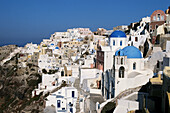 Aegean Sea, Architecture, Blue, Building, Buildings, Church, Churches, Coast, Coastal, Color, Colour, Cyclades, Daytime, Dome, Domes, Europe, Exterior, Greece, Horizon, Horizons, Island, Islands, Mediterranean Sea, Oia, Oía, Outdoor, Outdoors, Outside, O