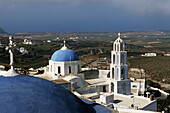 Bell gable, Bell gables, Bell tower, Bell towers, Blue, Building, Buildings, Church, Churches, Color, Colour, Daytime, Detail, Details, Dome, Domes, Europe, Exterior, Greece, Outdoor, Outdoors, Outside, Pygros, Santorin, Santorini, Temple, Temples, Thera