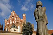 Bernardins Church, Statue of Adam Mickiewicz. Vilnius. Lithuania.