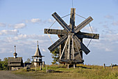 Wind mill from the village of Volkostrov, 1928. Kizhi Island. Onega lake, Karelia. Russia.