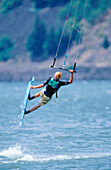 Kiteboarding. Columbia River. Oregon. USA