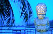 Polynesian Tiki statue. Maeva Beach. Tahiti. French Polynesia