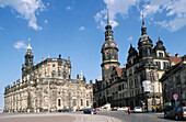 Dresden Schloss Castle and Hofkirche Cathedral (catholic cathedral) from the Opera. Dresden. Saxony. Germany