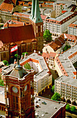 Rotes Rathaus (City Hall) and Nikolaikirche (oldest church in Berlin) in Alexanderplatz. View from the Television Tower. Germany