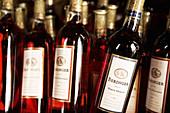 Wine Bottles from Beringer Vineyards. St. Helena, Napa Valley. California, USA