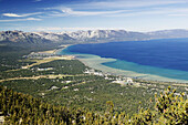 View of Stateline and South Lake Tahoe from Heavenly Mountain. Nevada, USA