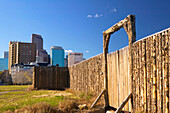 Exterior stockade, Fort Calgary Historic Park. Calgary. Alberta, Canada