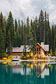 Yoho National Park in autumn, Emerald Lake cabins. British Columbia, Canada