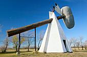 World s biggest Indian tomahawk (weights 8 tons). Cut Knife. Saskatchewan, Canada