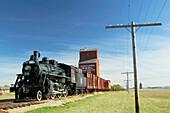 Western Development Museum and Village, steam train and grain elevator. North Battlerford. Saskatchewan, Canada