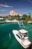 Bahamas, New Providence Island, Nassau: Atlantis Resort and Casino / Paradise Island. Daytime from Nassau Harbor